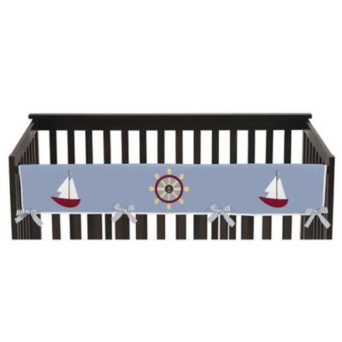 Sweet Jojo Designs Come Sail Away Long Crib Rail Guard Cover in Chambray Blue/Yellow