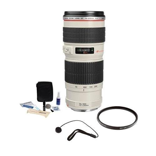 Canon EF 70-200mm f/4L USM AF Lens Kit, USA with Tiffen 67mm UV Filter, Lens Cap Leash, Professional Lens Cleaning Kit