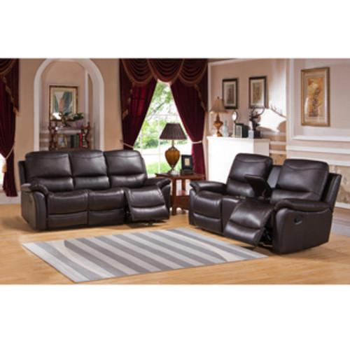 Pierce Brown Premium Top Grain Leather Reclining Sofa and Chair