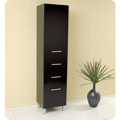 Fresca Grey Oak Bathroom Linen Side Cabinet with 3 Large Storage Areas