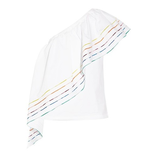ROSIE ASSOULIN One Shoulder 'Rainbow' Blouse