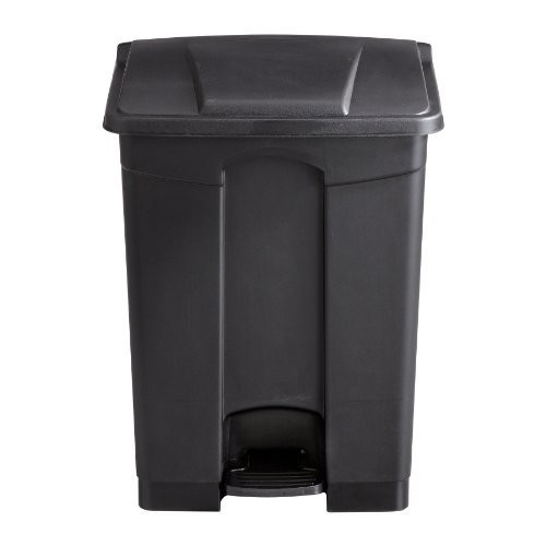 Safco Products 9922BL Plastic Step-On Waste Receptacle, 17-Gallon, Black [Black, 17-Gallon]