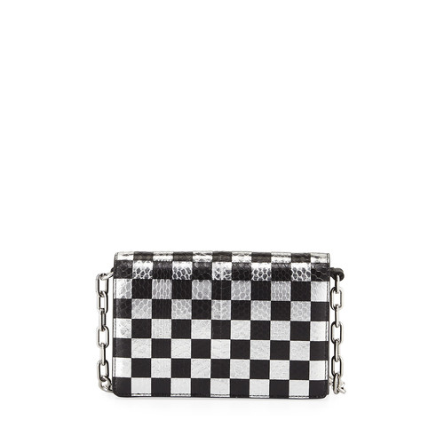ALEXANDER WANG Attica Checkered Leather & Snakeskin Shoulder Bag, Black