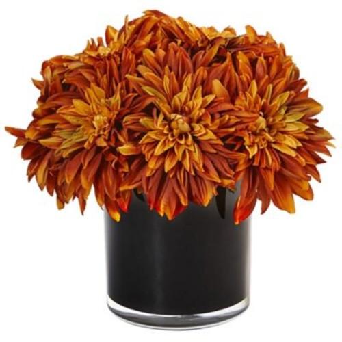 Mercer41 Silk Dahlia and Mums Floral Arrangement in Planter; Orange