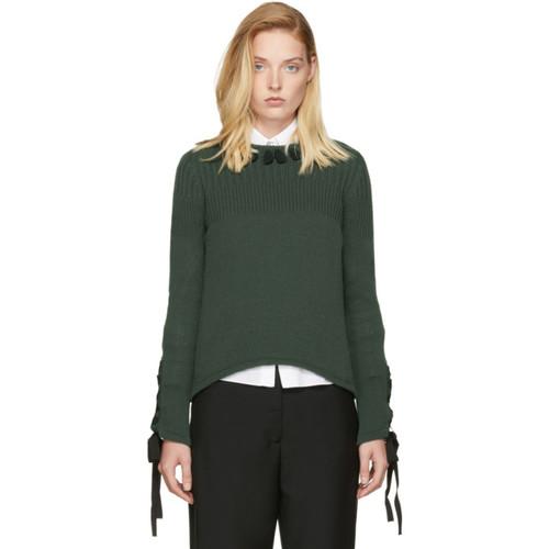 FENDI Green Cashmere Ribbon Sweater