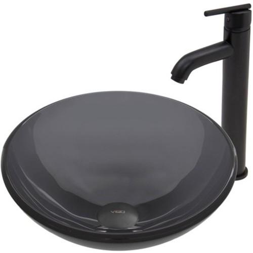 VIGO Sheer Black Glass Vessel Sink and Seville Faucet Set in Matte Black Finish
