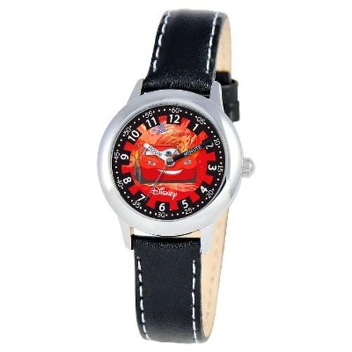 Boys' Disney Cars Stainless Steel Time Teacher Watch - Black