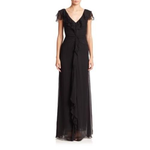Ruffled Silk Chiffon Dress