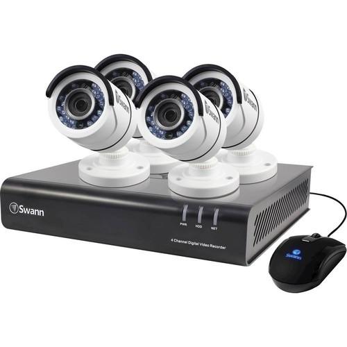 Swann - 4-Channel, 4-Camera Outdoor Wired 500GB DVR Surveillance System - Black