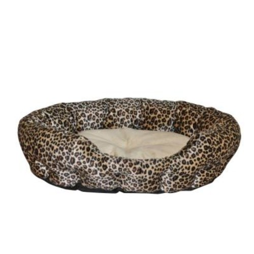 K&H Pet Products Self Warming Nuzzle Nest Small Brown Leopard Print Cat Bed
