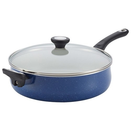 Traditions Speckled Aluminum Nonstick 5-Quart Jumbo Cooker with Helper Handle, Blue