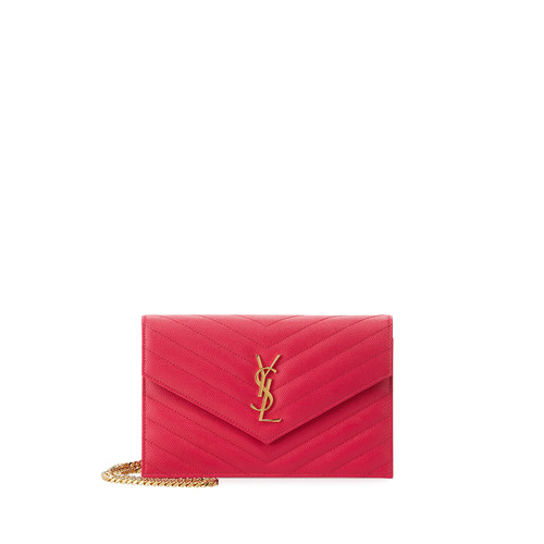 SAINT LAURENT Monogram Small Matelassé Envelope Chain Wallet, Fuchsia