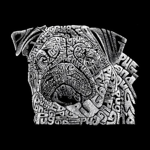 LA Pop Art Black Cotton Pug Face Drawstring Backpack