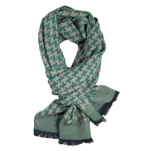 Green & Khaki Houndstooth Scarf
