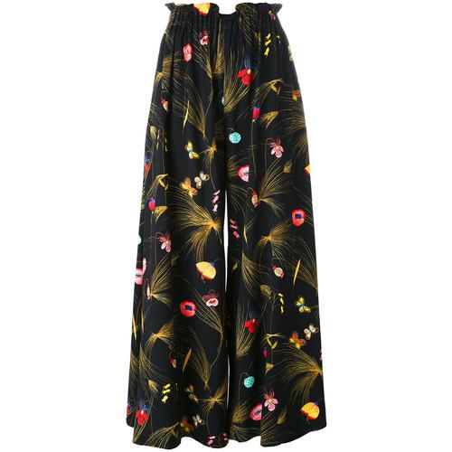 FENDI Floral Print Pleated Trousers