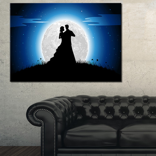 Couple Embrace in Night - Romance Art Glossy Metal Wall Art