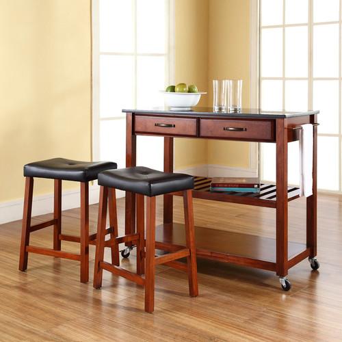 Crosley Furniture 3-piece Black Granite Top Kitchen Island Cart & Counter Stool Set