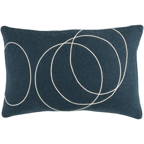 Solid Bold Pillow in Dark Blue & Cream design by Bobby Berk - 13\