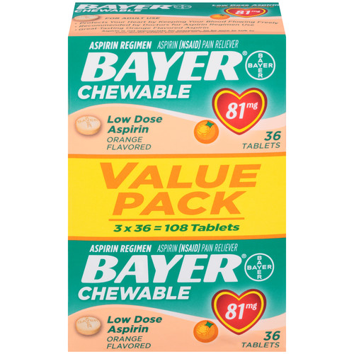 Bayer Aspirin Low Dose Baby Orange 81 mg Tablets 3 packages