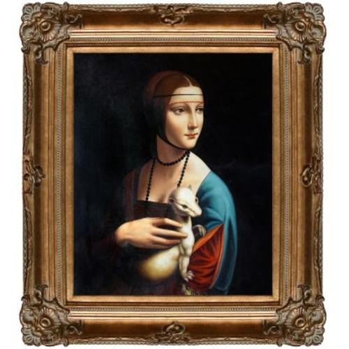 La Pastiche 'Lady w/ an Ermine' by Leonardo Da Vinci Framed Painting Print