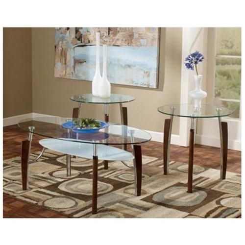 Clear Glass Cocktail and 2 End Tables