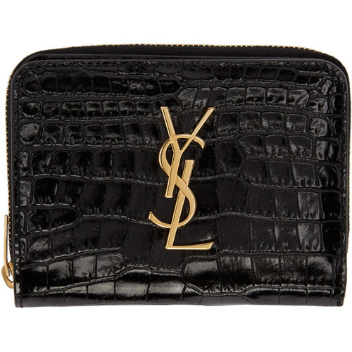 SAINT LAURENT Black Monogram Compact Wallet