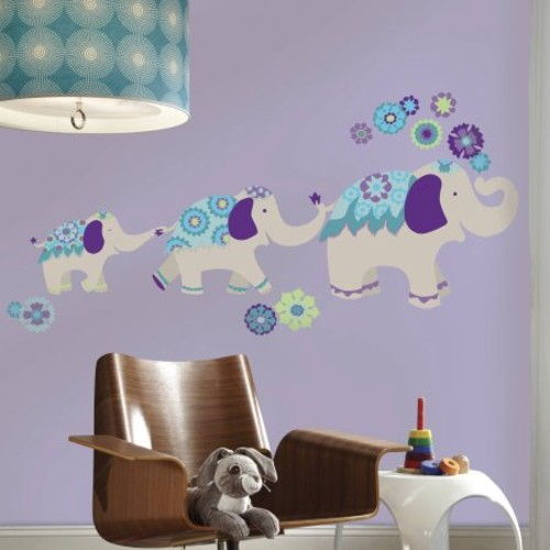 RoomMates 2.5 in. W x 27 in. H Waverly Teal and Purple Elephant Mega 11-Piece Peel and Stick Giant Wall Decal