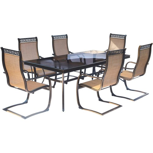 Hanover Monaco 7-Piece Aluminum Outdoor Dining Set with Rectangular Glass-Top Table and Contoured Sling Spring Chairs