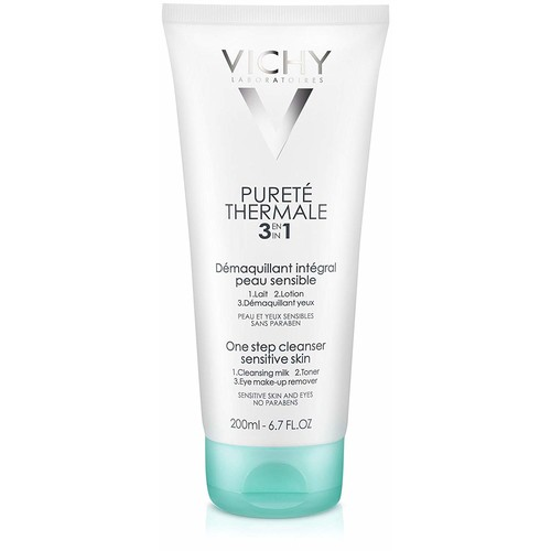 Vichy Puret Thermale 3-in-1 One Step Face Wash Cleanser and Eye Makeup Remover for Sensitive Skin [Face Wash 6.7 Fl. Oz.]