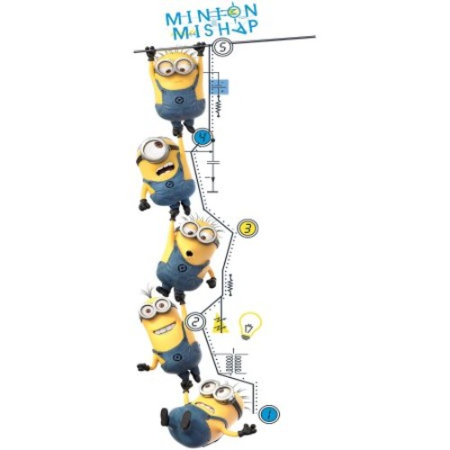 RoomMates DespiCable Me 2 Growth Chart Peel and Stick Wall Decal, Yellow/Blue
