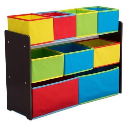 Delta Children Deluxe Multi-Bin Toy Organizer with Storage Bins - Dark Chocolate/Primary Colored Bins