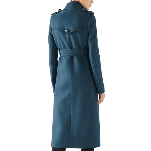 GUCCI Wool Double-Breasted Trenchcoat, Merino Ribbed Turtleneck Top & Wool Skinny Flare Pant