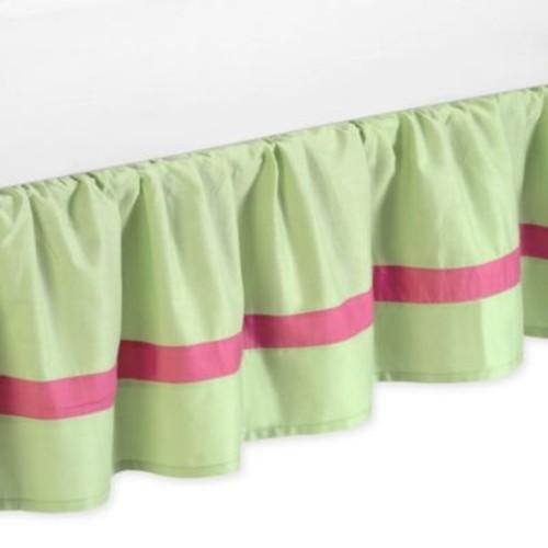 Sweet Jojo Designs Flower Queen Bed Skirt in Pink/Green