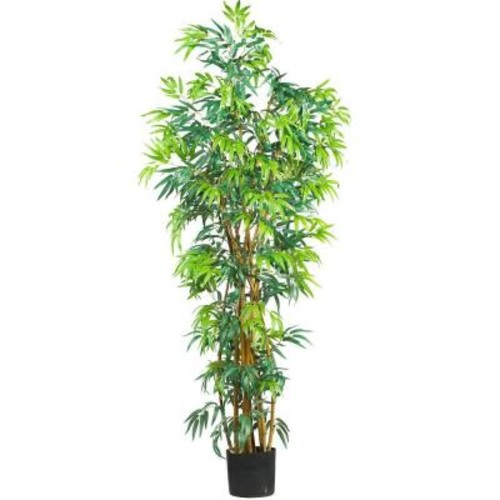 Nearly Natural 6 ft. Curved-Trunk Bamboo Silk Tree
