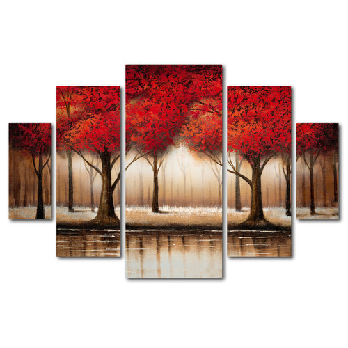 Trademark Global Rio 'Parade of Red Trees' Multi Panel Art Set
