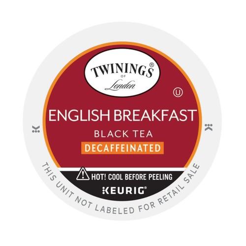 Twinings English Breakfast Tea K-Cups, Decaffeinated, 0.11 Oz., Box Of 24