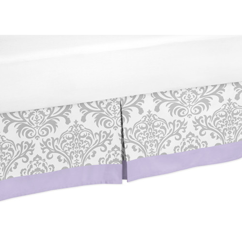 Sweet Jojo Designs Lavender and Gray Elizabeth Collection Queen Bed Skirt