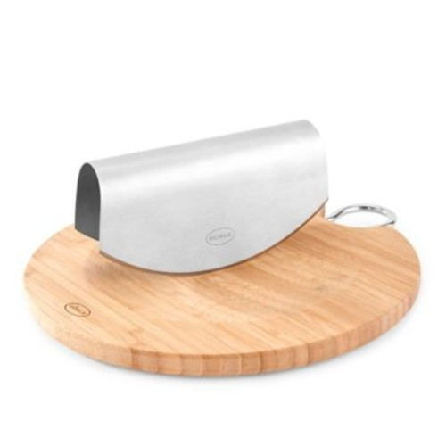 Rosle Stainless Steel Mezzaluna Chopper with Bamboo Chopping Board