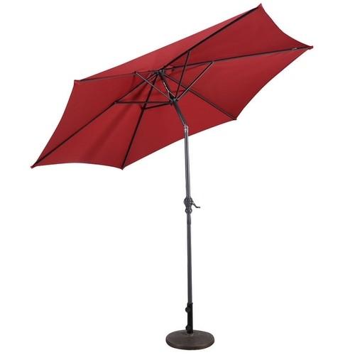 Costway 9FT Patio Umbrella Patio Market Steel Tilt W/ Crank Outdoor Yard Garden Burgundy