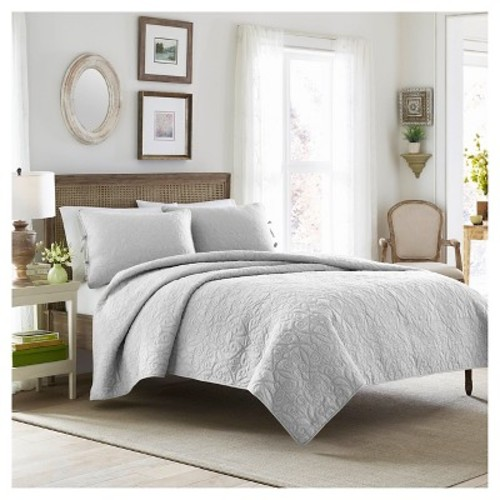 Felicity Quilt And Sham Set Twin Soft Gray - Laura Ashley