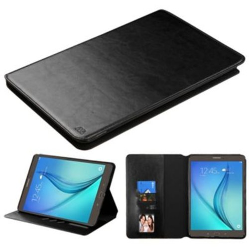 Insten Book-Style Leather Fabric Cover Case w/stand/card slot/Photo Display For Samsung Galaxy Tab A 9.7 - Black