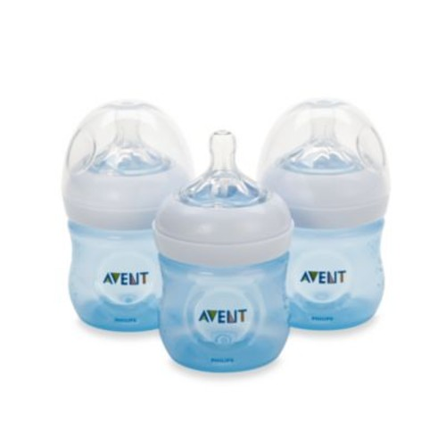 Philips Avent Natural 4-Ounce Bottle in Blue (3-Pack)