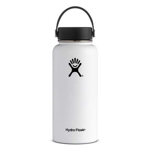 Hydro Flask - Stainless Steel Water Bottle Vacuum Insulated Wide Mouth with Flex Cap White - 32 oz.