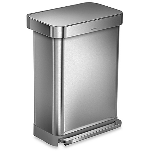 simplehuman 55-Liter RectangularStep Trash Can with Liner Pocket in Brushed Stainless Steel