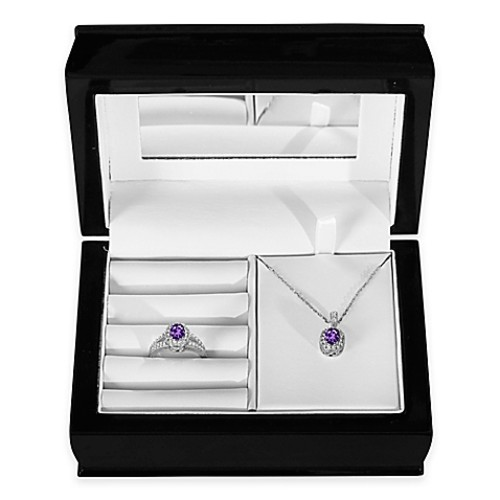 Sterling Silver Amethyst and Created White Sapphire Halo Pendant, Size 5 Ring and Jewelry Box Set