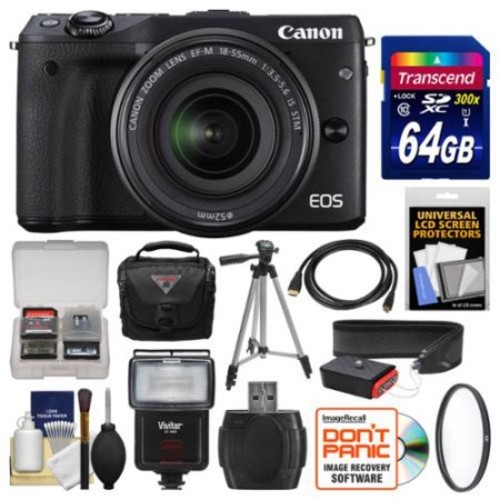 Canon EOS M3 Wi-Fi Digital ILC Camera & EF-M 18-55mm IS STM Lens (Black) with 64GB Card + Case + Flash + Tripod + Filter + Strap + Kit