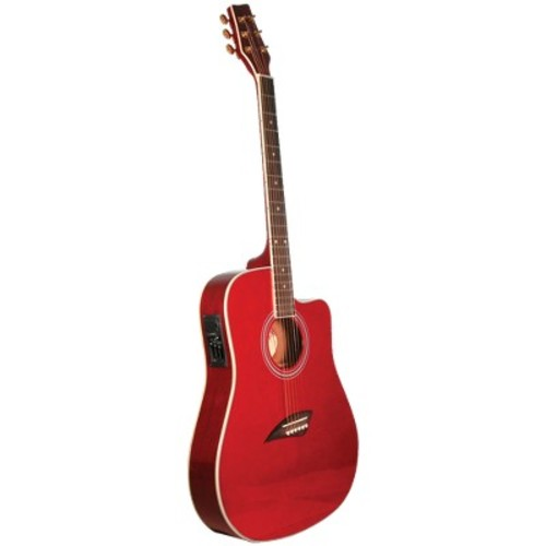 Kona K2TRD Thin Body Acoustic/Electric Guitar - Red