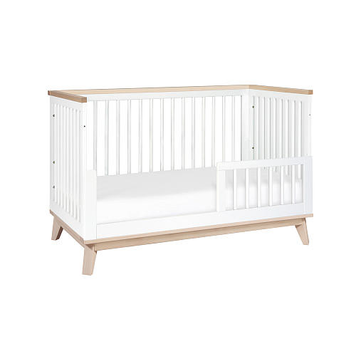 Babyletto Scoot 3-in-1 Convertible Crib with Toddler Bed Conversion Kit - White and Washed Natural
