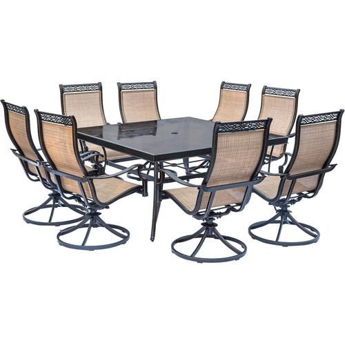 Hanover Monaco 9-Piece Aluminum Outdoor Dining Set with Square Glass-Top Table and Contoured Sling Swivel Chairs