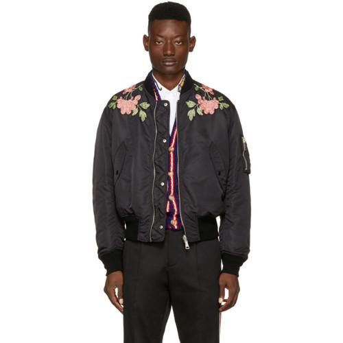 GUCCI Black Nylon 'Modern Future' Bomber Jacket
